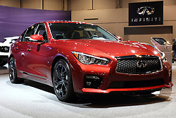"""12 February 2015: 2015 INFINITI Q50: Now in its second year, the Infiniti Q50 sports sedan will be on display at the 2015 Chicago Auto Show, Feb.14-22. Offered in ten models, the Q50 can be order with rear-wheel or Intelligent all-wheel drive configurations. There are two advanced powertrains to select from, starting with the refined 3.7-liter aluminum-alloy DOHC 24-valve V-6, rated at 328 horsepower. An available hybrid features Infiniti's Direct Response Hybrid system that combines a 3.5L DOHC aluminum-alloy V-6 and compact laminated lithium-ion battery design and one-motor/two-clutch motor control. The system's V-6 is rated at 296 horsepower, while the advanced 50 kW electric motor is rated at 67 horsepower. The hybrid system net power is 354 horsepower, providing strong acceleration and lean fuel economy. Both Q50 powertrains are matched with an advanced seven-speed electronically controlled automatic transmission with manual shift mode and available steering column-mounted magnesium paddle shifters. Offering a sense of """"my car knows me,"""" the i-Key system can recognize each driver and automatically engage pre-set preferences for driving position, heating and cooling, audio, navigation and telematics. Other features include dual-zone automatic temperature control, Bluetooth hands-free phone system, rear view monitor and available Plasmacluster air purifier and around view monitor with moving object detection. Driver-oriented five-passenger cabin is available with leather-appointed seating surfaces, """"Kacchu"""" aluminum trim and available """"Fukiurushi"""" maple wood trim. Three interior colors are offered: Wheat, Graphite and Stone. Effective luggage space is 18.0 cubic feet with the 3.7L V-6 and 14.1 cu. ft. with the hybrid powertrain.<br /> <br /> First staged in 1901, the Chicago Auto Show is the largest auto show in North America and has been held more times than any other auto exposition on the continent. The 2015 show marks the 107th edition of the Chicago Auto Sho"""