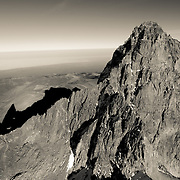Aerial view of Mount Kenya, the second highest peak in Africa.