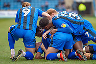 Gillingham FC midfielder Mark Byrne (33) (looking upwards) celebrates with team mates after scoring a goal (1-0) during the EFL Sky Bet League 1 match between Gillingham and Scunthorpe United at the MEMS Priestfield Stadium, Gillingham, England on 16 February 2019.