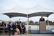 SJECCD Interim Chancellor John Hendrickson presents during the Milpitas Unified School District and San Jose Evergreen Community College District Community College Extension Ground Breaking Ceremony near Russell Middle School in Milpitas, California, on November 17, 2015. (Stan Olszewski/SOSKIphoto)