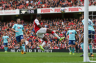Danny Welbeck of Arsenal scores his teams first goal of the game.<br /> Premier league match, Arsenal v AFC Bournemouth at the Emirates Stadium in London on Saturday 9th September 2017. pic by Kieran Clarke, Andrew Orchard sports photography.
