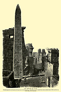 The OBELISK OF LUXOR. The hieroglyphics are cleanly and deeply cut in the red granite. The fellow of this monolith has been carried away to Paris, and set up in the Place de la Concorde Wood engraving from 'Picturesque Palestine, Sinai and Egypt' by Wilson, Charles William, Sir, 1836-1905; Lane-Poole, Stanley, 1854-1931 Volume 4. Published in 1884 by J. S. Virtue and Co, London