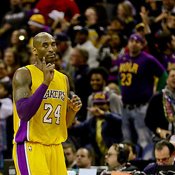 Feb 4, 2016; New Orleans, LA, USA; Los Angeles Lakers forward Kobe Bryant (24) gestures after scoring against the New Orleans Pelicans during the fourth quarter of a game at the Smoothie King Center. The Lakers defeated the Pelicans 99-96. Mandatory Credit: Derick E. Hingle-USA TODAY Sports