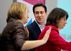 © London News Pictures. 21/09/2013.  Brighton, UK. Labour Party leader Ed Miliband talking to Harriet Harman  at the Labour Party National Womens Conference in Brighton a day ahead of the start of the Labour Party COnference in Brighton. Photo credit: Ben Cawthra/LNP
