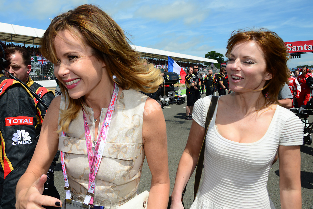 Geri Halliwell and Amanda Holden on the grid before the 2013 British Grand Prix in Silverstone. Photo: Grand Prix Photo