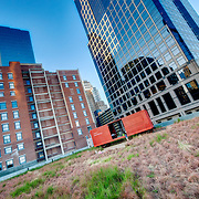 Downtown Kansas City high rises from green roof at the Power and Light District. Prairie Logic boxcar performance venue.