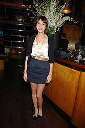ALEXA CHUNG at a party hosted by Belvedere Vodka and Jade Jagger to launch The Belvedere Jagger Dagger cocktail held at Automat, Berkeley Street, London on 8th May 2008.<br /> <br /> NON EXCLUSIVE - WORLD RIGHTS ******(EMBARGOED FOR PUBLICATION IN UK MAGAZINES UNTIL 2 MONTHS AFTER CREATE DATE AND TIME)****** www.donfeatures.com  +44 (0) 7092 235465