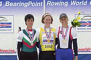 Poznan, POLAND.   2004 FISA World Cup, Malta Lake Course.  <br /> <br /> left to right BUL W1X  Rumyana Neykova, GER W1X Katerin Rutschow-Stomporoski and CZE W1X Mirka Knapkova<br /> 09.05.2004<br /> <br /> [Mandatory Credit:Peter SPURRIER/Intersport Images]