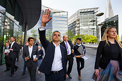 © Licensed to London News Pictures. 09/05/2016. London, UK. Newly elected Mayor of London SADIQ KHAN arriving at City Hall in London on his first day at work on Monday, 9 May 2016. Photo credit: Tolga Akmen/LNP