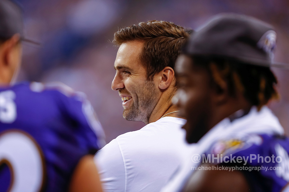 INDIANAPOLIS, IN - AUGUST 20: Joe Flacco #5 of the Baltimore Ravens is seen on the sidelines during the game against the Indianapolis Colts at Lucas Oil Stadium on August 20, 2016 in Indianapolis, Indiana.  (Photo by Michael Hickey/Getty Images) *** Local Caption *** Joe Flacco