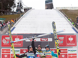 04.01.2014, Bergisel Schanze, Innsbruck, AUT, FIS Ski Sprung Weltcup, 62. Vierschanzentournee, Bewerb, im Bild Podium: vl. dritter Simon Ammann (SUI), Sieger Anssi Koivuranta (FIN) und dritter Kamil Stoch (POL) // Podium: fl. second placed Simon Ammann (SUI), Winner Anssi Koivuranta (FIN) and third placed Kamil Stoch (POL)  after Competition of 62nd Four Hills Tournament of FIS Ski Jumping World Cup at the Bergisel Schanze, Innsbruck, Austria on 2014/01/04. EXPA Pictures © 2014, PhotoCredit: EXPA/ JFK