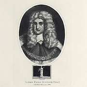 Portrait of Lord Chief Justice Holt Copperplate engraving By Chapman [Sir John Holt (23 December 1642 – 5 March 1710) was an English lawyer and served as Lord Chief Justice of England from 17 April 1689 to his death. He is frequently credited with playing a major role in ending the prosecution of witches in English law]. From the Encyclopaedia Londinensis or, Universal dictionary of arts, sciences, and literature; Volume X;  Edited by Wilkes, John. Published in London in 1811