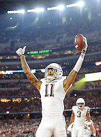 Texas A&M'S Josh Reynolds (11) celebrates after catching a pass for the tieing two point conversion against Arkansas in the 4th quarter of the Southwest Classic at AT&T Stadium in Arlington, Texas, Saturday September 26, 2015.