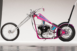 """Highway Star"", A Pink Prisim tank Chopper, built from a 900 CC XLCH 1964 Sportster, by Jack Deagazio. in East Syracuse, NY. Photographed by Michael Lichter in Sturgis, SD on 7/29/18. ©2018 Michael Lichter."