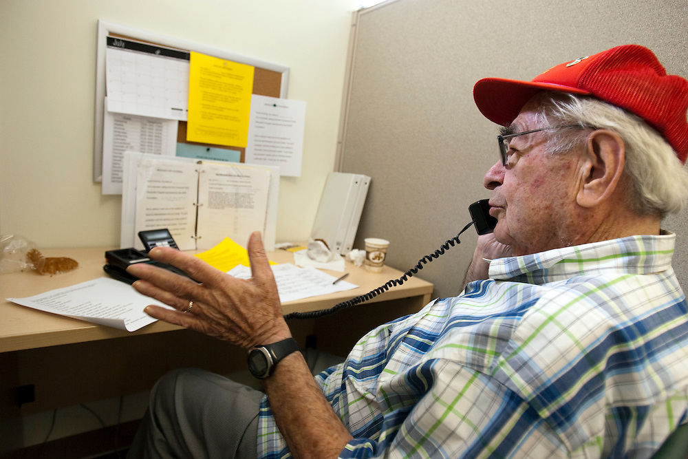 Lou Burgvolunteers as Fraud Fighters at the WISE and Healthy Aging facility in Santa Monica, CA where they phone senior citizens to warn them of phone fraud.
