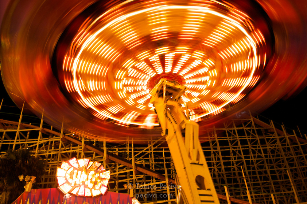 Rides at the Belmont Park amusement park in Mission Beach, San Diego, California.