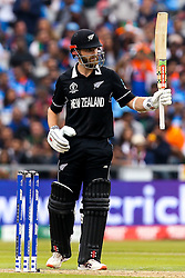 Kane Williamson of New Zealand celebrates reaching 50 runs against India in the Cricket World Cup semi final - Mandatory by-line: Robbie Stephenson/JMP - 09/07/2019 - CRICKET - Old Trafford - Manchester, England - India v New Zealand - ICC Cricket World Cup 2019 - Semi Final