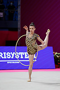 Andreea Verdes from Bulgaria is competing in Rhythmic Gymnastics Individual World Cup at Vitrifrigo Arena on May 2021, Pesaro, Italy. Andreea Verdes is a Bulgarian gymnast born in Iasi in 2000.