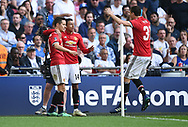 Ander Herrera of Manchester United celebrates scoring his goal to make it 2-1 during the FA cup semi-final match at Wembley Stadium, London. Picture date 21st April, 2018. Picture credit should read: Robin Parker/Sportimage