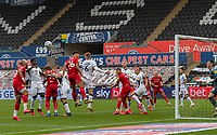 In front of the Swansea City goal, Swansea under pressure from Bristol City <br /> <br /> Photographer David Horton/CameraSport<br /> <br /> The EFL Sky Bet Championship - Swansea City v Bristol City- Saturday 18th July 2020 - Liberty Stadium - Swansea<br /> <br /> World Copyright © 2019 CameraSport. All rights reserved. 43 Linden Ave. Countesthorpe. Leicester. England. LE8 5PG - Tel: +44 (0) 116 277 4147 - admin@camerasport.com - www.camerasport.com