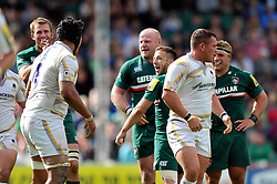Leicester Tigers scrum half David Mele taunts the Worcester Warriors pack after a good scrum from Tigers - Photo mandatory by-line: Patrick Khachfe/JMP - Tel: Mobile: 07966 386802 - 08/09/2013 - SPORT - RUGBY UNION - Welford Road Stadium - Leicester Tigers v Worcester Warriors - Aviva Premiership.