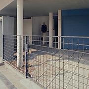 La Plata, Argentina, 1987: View of the entrance (right Garage) ground floor, Currutchet house (1949) at Av. 53-320 - La Plata - Le Corbusier arch - Photographs by Alejandro Sala (Historical archivi AS)
