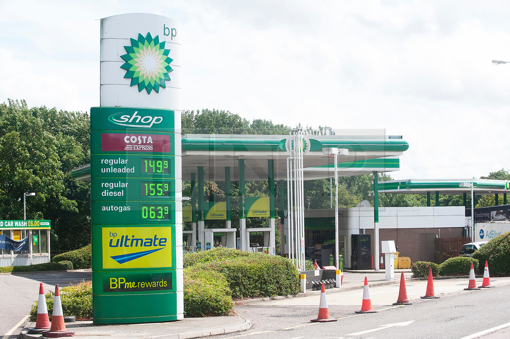 © Licensed to London News Pictures. 09/08/2019.<br /> Medway ,UK. Expensive petrol prices at the BP garage, Medway services on the M2 coast bound in Kent.  Photo credit: Grant Falvey/LNP