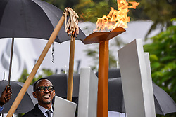 """Official ceremonies for the 23rd commemoration of the 1994 genocide between Hutus and Tutsis, """"Kwibuka 23"""", in the presence of Paul Kagame, President of Rwanda, and Chadian politician Moussa Faki Mahamat, Chairperson of the African Union Commission, on April 7, 2017. 23 years after the 1994 mass slaughter of Tutsi during which 800000 people were massacred, the Rwandan people gathered to honor the memory of the victims. Photo by Pluquet/AND/ABACAPRESS.COM"""