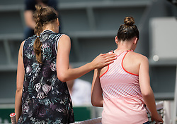 May 23, 2019 - Paris, FRANCE - Antonia Lottner of Germany & Elsa Jacquemot of France at the net after the second qualification round at the 2019 Roland Garros Grand Slam tennis tournament (Credit Image: © AFP7 via ZUMA Wire)