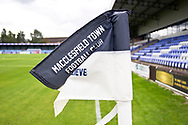 Macclesfield corner flag before the EFL Sky Bet League 2 match between Macclesfield Town and Crawley Town at Moss Rose, Macclesfield, United Kingdom on 7 September 2019.