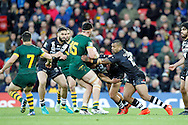 Australia's David Klemmer is bloked by New Zealand's defence during the Ladbrokes Four Nations match between Australia and New Zealand at Anfield, Liverpool, England on 20 November 2016. Photo by Craig Galloway.