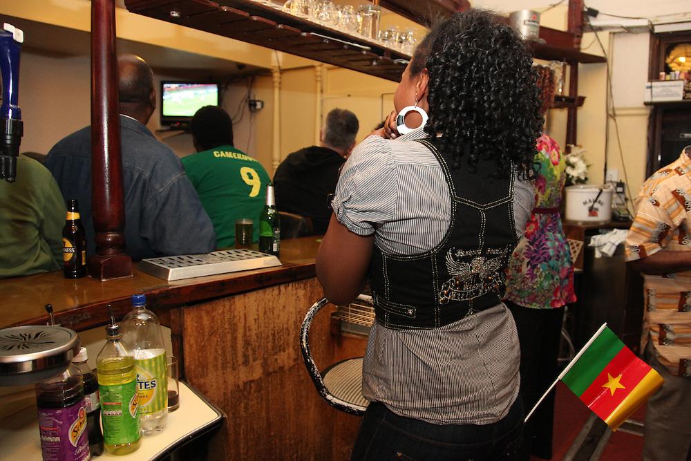 Cameroon v Denmark at Victoria Chez Tah Ndi, Dalston E8.<br /><br /><br />Copyright: Jonathan Goldberg