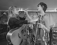 Sara Hickman, left and Phoebe Hunt during sound check prior to the Friday session of the Sisters Folk Festival.