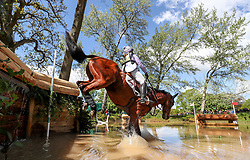 Gemma Tattersall on Artic Soul at the Hildon Water Pond on the Cross Country during day four of the 2019 Mitsubishi Motors Badminton Horse Trials at The Badminton Estate, Gloucestershire.