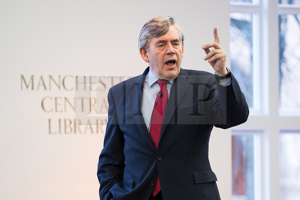 """© Licensed to London News Pictures. 16/11/2017. Manchester, UK. Former British Prime Minister GORDON BROWN hosts a talk about the financial crash and his time in politics, as Chancellor and then Prime Minister, as part of his promotional tour for his book , """" My Life, Our Times """", at the Manchester Central Library . Photo credit: Joel Goodman/LNP"""