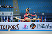 Coleman Amelia during qualifying at hoop in Pesaro World Cup at Adriatic Arena on April 26, 2013. Carmen is a New Zealand  gymnast.