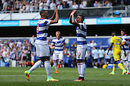 Tjarron Chery of QPR (r) celebrates after scoring his sides 2nd goal from a penalty to make it 2-0 with Jordan Cousins of QPR. Skybet EFL championship match, Queens Park Rangers v Leeds United at Loftus Road Stadium in London on Sunday 7th August 2016.<br /> pic by John Patrick Fletcher, Andrew Orchard sports photography.