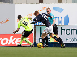 Hibernian's Lewis Stevenson and Falkirk's Scott Shehpard. Falkirk 1 v 2 Hibernian, Scottish Championship game played 31/12/2016 at The Falkirk Stadium .