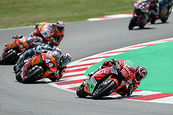 June 17, 2018 - Montmelo, Catalunya, Spain - Fabio QUARTARARO of France and HDR Speed Up Racing leads the race ahead of Miguel OLIVEIRA of Portugal and Red Bull KTM Ajo during Gran Premi Monster Energy de Catalunya (Grand Prix of Catalunya), Moto2 race, on June 17, 2018 at the Catalunya racetrack in Montmelo, near Barcelona, Spain (Credit Image: © Manuel Blondeau via ZUMA Wire)