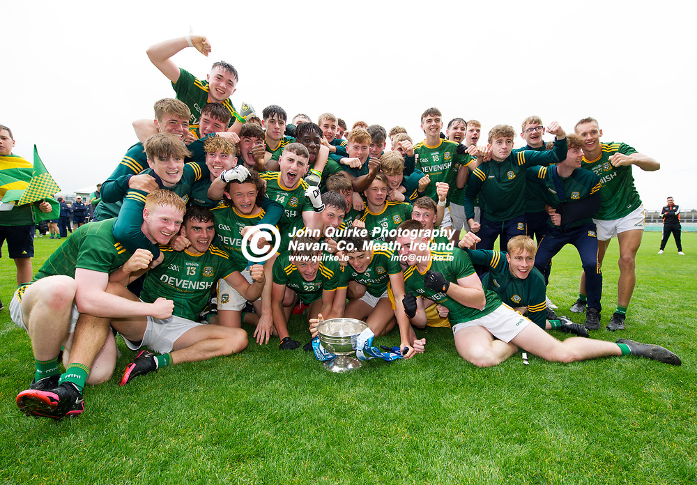 02-08-21. Meath v Dublin - Leinster MFC Final at O'Connor Park, Tullamore.<br /> Meath players celebrating with the Fr. Larry Murphy Leinster MFC Cup. <br /> Photo: John Quirke / www.quirke.ie<br /> ©John Quirke Photography, 16 Proudstown Road, Navan. Co. Meath. (info@quirke.ie / 046-9028461 / 087-2579454).