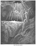 The New Jerusalem [Revelation 21:1-2] From the book 'Bible Gallery' Illustrated by Gustave Dore with Memoir of Dore and Descriptive Letter-press by Talbot W. Chambers D.D. Published by Cassell & Company Limited in London and simultaneously by Mame in Tours, France in 1866