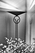 Floor lamp, shadows design, autumn, November, private residence, Tacoma, Washington, USA