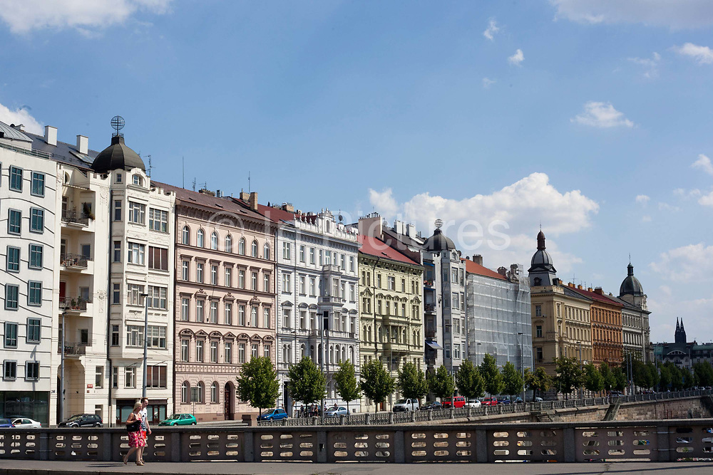 Street scene by the river in the Old town; Prague, Czech Republic.
