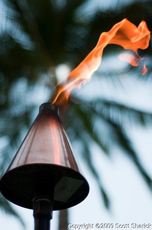 Flame from a tiki torch in Waikiki, Hawaii.