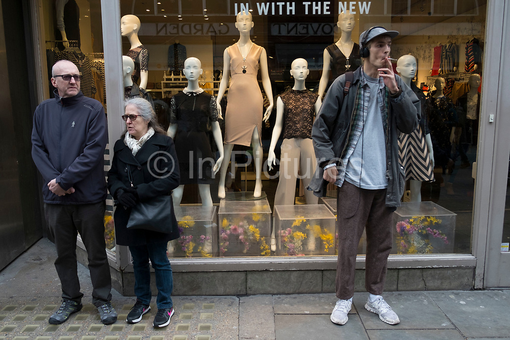 People and shop window display mannequins interacting in London, England, United Kingdom. (photo by Mike Kemp/In Pictures via Getty Images)