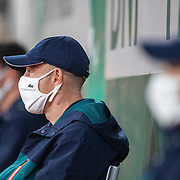 PARIS, FRANCE September 30. Line judges wearing masks during the Elina Svitolina of The Ukraine match against Renata Zarazua of Mexico in the second round of the singles competition on Court Philippe-Chatrier during the  French Open Tennis Tournament at Roland Garros on September 30th 2020 in Paris, France. (Photo by Tim Clayton/Corbis via Getty Images)