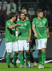 05.11.2011, Weserstadion, Bremen, GER, 1.FBL, Werder Bremen vs 1. FC Köln / Koeln, im Bild Sokratis (Bremen #22), Claudio Pizarro (Bremen #24), Sebastian Prödl / Proedl (Bremen #15)..// during the match Werder Bremen vs 1. FC Koeln on 2011/11/05, Weserstadion, Bremen, Germany..EXPA Pictures © 2011, PhotoCredit: EXPA/ nph/  Frisch       ****** out of GER / CRO  / BEL ******