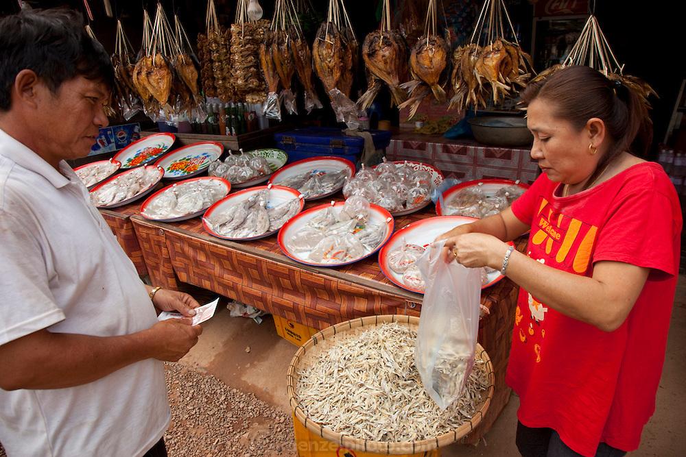 Dried fish in a village near Vang Vieng, Laos.
