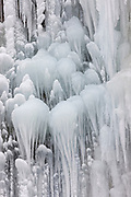 Ice patterns that look like frozen jellyfish form on the side of Horsetail Falls on the Oregon side of the Columbia River Gorge after a week of below-freezing temperatures.