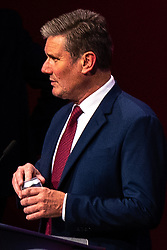 © Licensed to London News Pictures. 24/09/2021. Brighton, UK. Labour Party Leader SIR KEIR STARMER is seen on the auditorium stage of the Brighton Centre this evening (Friday 24th September 2021) ahead of the start of the Labour Party Conference . Photo credit: Joel Goodman/LNP